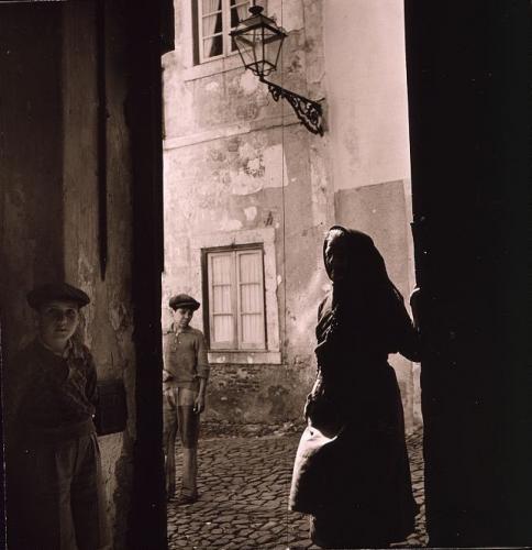 Medieval street in Alfama, Lisbon, Portugal.